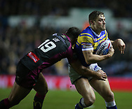 Jimmy Kienhorst (R) of Leeds Rhinos tackled by Tommy Lee (L) of Hull Kingston Rovers during the Betfred Super League match at Elland Road, Leeds<br /> Picture by Stephen Gaunt/Focus Images Ltd +447904 833202<br /> 08/02/2018