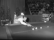 "The Benson and Hedges .Irish Masters Snooker..1984..28.03.1984..03.28.1984..28th March 1984..The championship was held at Goffs,Co Kildare. All the top names in snooker took part..Steve Davis,Jimmy White,Eddie Charlton,.Tony Knowles,Dennis Taylor,Tony Meo,.Alex Higgins,Ray Reardon,.Cliff Thorburn,Terry Griffiths,.Bill Werbeniuk and Eugene Hughes..The eventual winner was Steve Davis who beat Terry Griffiths 9 -1 in the final..Image as Tony Meo ""breaks"" to get the game underway, Jimmy watches the proceedings.."