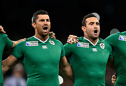 Brothers Rob and Dave Kearney sing the Ireland national anthem - Mandatory byline: Patrick Khachfe/JMP - 07966 386802 - 11/10/2015 - RUGBY UNION - Millennium Stadium - Cardiff, Wales - France v Ireland - Rugby World Cup 2015 Pool D.