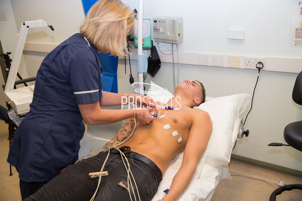 Charlie Cooper having a medical prior to signing for Forest Green Rovers. Signing at the New Lawn, Forest Green, United Kingdom on 15 June 2017. Photo by Shane Healey.