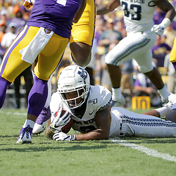 Oct 5, 2019; Baton Rouge, LA, USA; Utah State Aggies cornerback Cameron Haney (6) is tackled after intercepting a pass against the LSU Tigers during the first quarter at Tiger Stadium. Mandatory Credit: Derick E. Hingle-USA TODAY Sports