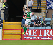 27th August 2017, Dens Park, Dundee, Dundee; Scottish Premier League football, Dundee versus Hibernian; Hibernian's Anthony Stokes celebrates after scoring