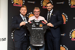Match sponsor receives shirt from Jack Innard and Don Armand in the Chiefs Suite prior to kick off - Mandatory by-line: Ryan Hiscott/JMP - 25/01/2020 - RUGBY - Sandy Park - Exeter, England - Exeter Chiefs v Sale Sharks - Gallagher Premiership Rugby