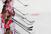 The team of Russia women's hockey stands for the national anthem  during the Nagano Olympics Paralympics 20th Anniversary Games at Nagano on Monday, December 25, 2017. 25/12/2017-Nagano, JAPAN.