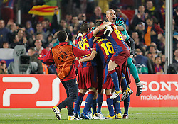03.05.2011, Camp Nou, Barcelona, ESP, UEFA CL, Halbfinale Rueckspiel, FC Barcelona (ESP) vs Real Madrid (ESP), im Bild FC Barcelona's Thiago Alcantara, Ibrahim Afellay, Sergio Busquets, Andres Iniesta and Victor Valdes celebrate the victory in the UEFA Champions League Semifinal match.May 3,2011, EXPA Pictures © 2011, PhotoCredit: EXPA/ Alterphotos/ Acero