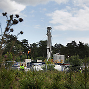 The Cuadrilla drill site near Blacombe protected by G4S security and police. Thousands turned out for a march of solidarity against fracking in Balcombe. The village Balcombe in Sussex is the  centre of fracking by the company Cuadrilla. The march saw anti-fracking movements from the Lancashire and the North, Wales and other communities around the UK under threat of gas and oil exploration by fracking.
