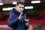 Lucas Torreira (11) of Arsenal on the pitch with a coconut shaped cup with a straw ahead of the The FA Cup match between Bournemouth and Arsenal at the Vitality Stadium, Bournemouth, England on 27 January 2020.