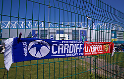 CARDIFF, WALES - Saturday, April 20, 2019: Half-and-half scarves on sale ahead of the FA Premier League match between Cardiff City FC and Liverpool FC at the Cardiff City Stadium. (Pic by David Rawcliffe/Propaganda)