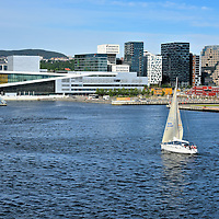 Sailboat Floating in Oslo Fjord in Oslo, Norway <br />