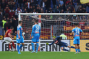Jordan Veretout of AS Roma scores 2-0 goal by penalty during the Italian championship Serie A football match between AS Roma and SSC Napoli at the Olympic Stadium, Saturday, Nov. 2, 2019, in Rome. Roma defeated Napoli 2-1.(Federico Proietti/Image of Sport)