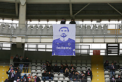 March 18, 2018 - Turin, Piedmont, Italy - The Fiorentina fans display a banner in memory of Davide Astori before the Serie A football match between Torino FC and ACF Fiorentina at Olympic Grande Torino Stadium on 18 March, 2018 in Turin, Italy. Final results: 1-2  (Credit Image: © Massimiliano Ferraro/NurPhoto via ZUMA Press)