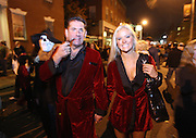 Salem, MA 103109   Charlie Russo (cq) of Middleton, MA, and Jennifer Tate (cq) of Beverly, partied at Salem on Halloween night October 31, 2009 while dressed as Hugh Hefner and one of the Girls Next Door. According to Salem Police Department, close to 100,000 people showed up at this Massachussetts city of about 41,000 to celebrate Halloween. (Essdras M Suarez/ ZUMA)