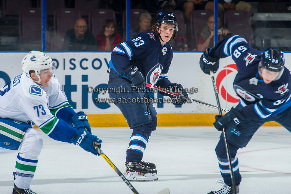 PENTICTON, CANADA - SEPTEMBER 8: Sami Niku #83 of Winnipeg Jets looks for the pass against the Vancouver Canucks on September 8, 2017 at the South Okanagan Event Centre in Penticton, British Columbia, Canada.  (Photo by Marissa Baecker/Shoot the Breeze)  *** Local Caption ***
