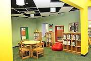 The library, which can be viewed at the entrance of the school at Atherton, features a reading nook.