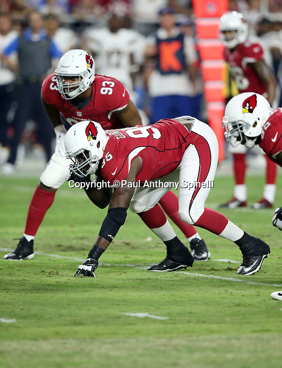 Arizona Cardinals rookie defensive tackle Rodney Gunter (95) gets set for the snap during the 2015 NFL preseason football game against the San Diego Chargers on Saturday, Aug. 22, 2015 in Glendale, Ariz. The Chargers won the game 22-19. (©Paul Anthony Spinelli)