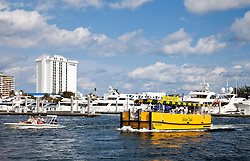 Ft. Lauderdale, Florida:  Almsot anything that floats, from personal outboards to water taxis, cruise along the Intracoastal Canal and New River, both of which parallel the inland side of the city's prime beach real estate.