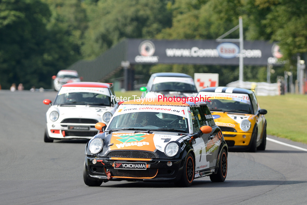 #1 Kenneth Thirlwall Mini Cooper during Celtic Speed Scottish Mini Cooper Cup Race 2 as part of the Mini Festival  at Oulton Park, Little Budworth, Cheshire, United Kingdom. August 08 2015. World Copyright Peter Taylor. Copy of publication required for printed pictures.  Every used picture is fee-liable. http://archive.petertaylor-photographic.co.uk