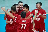 """Katowice, Poland - 2017 September 01: (L-R) Piotra Gacek and Marcin Komenda and Sebastian Swiderski and Jakub Bednaruk and SO Ambassador Vladimir """"Vanja"""" Grbic a former Serbian volleyball player (he won a gold medal in the 2000 Summer Olympics and a bronze medal in 1996 at Atlanta) and Zygmunt Chajzer tv journalist (Ambassador of Special Olympics Poland) attend in All Stars Game while Opening Ceremony during European Unified Volleyball Tournament 2017 at Spodek Hall on September 01, 2017 in Katowice, Poland.<br /> <br /> Adam Nurkiewicz declares that he has no rights to the image of people at the photographs of his authorship.<br /> <br /> Picture also available in RAW (NEF) or TIFF format on special request.<br /> <br /> Any editorial, commercial or promotional use requires written permission from the author of image.<br /> <br /> Image can be used in the press when the method of use and the signature does not hurt people on the picture.<br /> <br /> Mandatory credit:<br /> Photo by © Adam Nurkiewicz / Mediasport"""