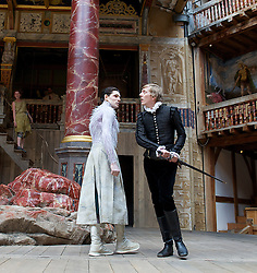 The Tempest By William Shakespeare, The Globe Theatre, London, Great Britain..Directed by Jeremy Herrin, designed by Max Jones, music by Stephen Warbeck..Joshua James. Ferdinand. Colin Morgan. Ariel, on April 26, 2013, on April 29, 2013. Photo by Elliott Franks / i-Images. .