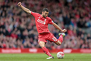 Kevin Stewart (Liverpool) takes a shot during the Barclays Premier League match between Liverpool and Stoke City at Anfield, Liverpool, England on 10 April 2016. Photo by Mark P Doherty.