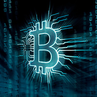 Bitcoin ₿ cryptocurrency, digital decentralized currency symbol, conceptual illustration of a bitcoin logo connected to a blockchain network.