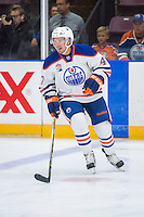 PENTICTON, CANADA - SEPTEMBER 16: Joey Benik #47 of Edmonton Oilers warms up against the Vancouver Canucks on September 16, 2016 at the South Okanagan Event Centre in Penticton, British Columbia, Canada.  (Photo by Marissa Baecker/Shoot the Breeze)  *** Local Caption *** Joey Benik;