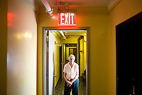 4 December, 2008. New York, NY. Carolyn Cohen, 82, is here in the hall of her apartment at 10 West 65th street, near Central Park, where she has been living for the past 49 years. The Touro college has converted about half the apartments of the building into dorm rooms, and the residents are nervous about sharing their building with students.<br /> ©2008 Gianni Cipriano for The New York Times<br /> cell. +1 646 465 2168 (USA)<br /> cell. +1 328 567 7923 (Italy)<br /> gianni@giannicipriano.com<br /> www.giannicipriano.com