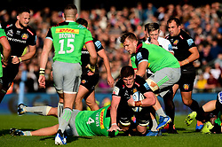 Jacques Vermeulen of Exeter Chiefs is tackled by Matt Symons of Harlequins - Mandatory by-line: Ryan Hiscott/JMP - 19/10/2019 - RUGBY - Sandy Park - Exeter, England - Exeter Chiefs v Harlequins - Gallagher Premiership Rugby