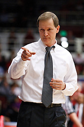 January 27, 2011; Stanford, CA, USA;  Oregon Ducks head coach Dana Altman on the sidelines against the Stanford Cardinal during the first half at Maples Pavilion.