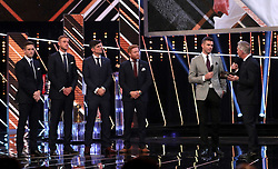 James Anderson is interviewed on stage by Gary Lineker alongside team-mates Chris Woakes, Stuart Broad, Alastair Cook and Jonny Bairstow during the BBC Sports Personality of the Year 2018 at Birmingham Genting Arena.