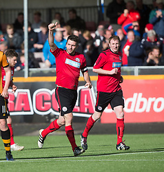 Brechin City's Paul McLean cele scoring their second goal. Athletic 4 v 3 Brechin City (Brechin won 5-4 on penalties), Ladbrokes Championship Play-Off 2nd Leg at Alloa Athletic's home ground, Recreation Park, Alloa.