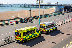 © Licensed to London News Pictures.06/04/2020. Brighton, UK. Only a handful of people can be seen on the beach and promenade in Brighton and Hove as the government advises stronger measures could be possible due to members of the public continue to go against the Coronavirus Lockdown rules. Photo credit: Hugo Michiels/LNP