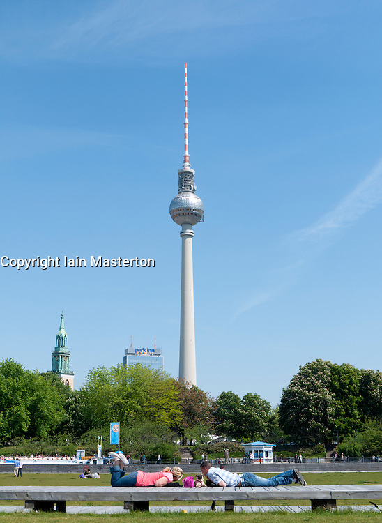 View of TV Tower or Fernsehturm at Alexanderplatz  in Mitte district of Berlin Germany