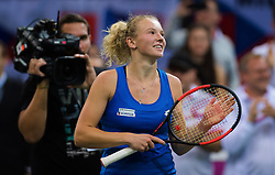 November 10, 2018 - Prague, Czech Republic - Katerina Siniakova of the Czech Republic celebrates winning her first match at the 2018 Fed Cup Final between the Czech Republic and the United States of America (Credit Image: © AFP7 via ZUMA Wire)