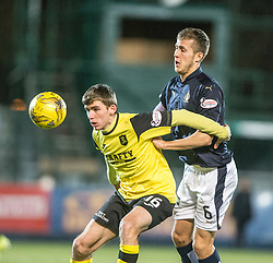 Livingston Kieran Gibbons and Falkirk's Will Vaulks. Falkirk 2 v 0 Livingston, Scottish Championship game played 29/12/2015 at The Falkirk Stadium.