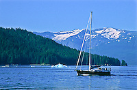 A sailboat in Stephens Passage, Southeast Alaska.