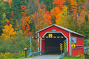 Covered bridge (pont couvert)  de Saint-Mathieu over the Shawinigan River. Autumn  colors. Great Lakes - St.  Lawrence Forest Region.<br />