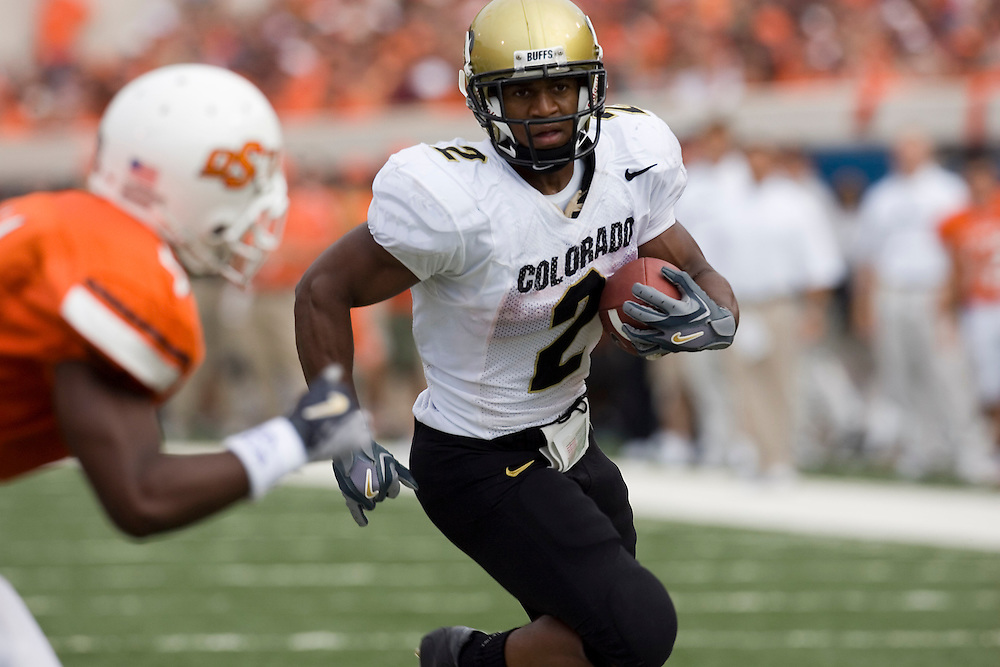 Colorado Buffaloes running back Hugh Charles runs with the ball during a 34 to 0 win over the Oklahoma State Cowboys on October 1, 2005 at Boone Pickens Stadium in Stillwater, Oklahoma.