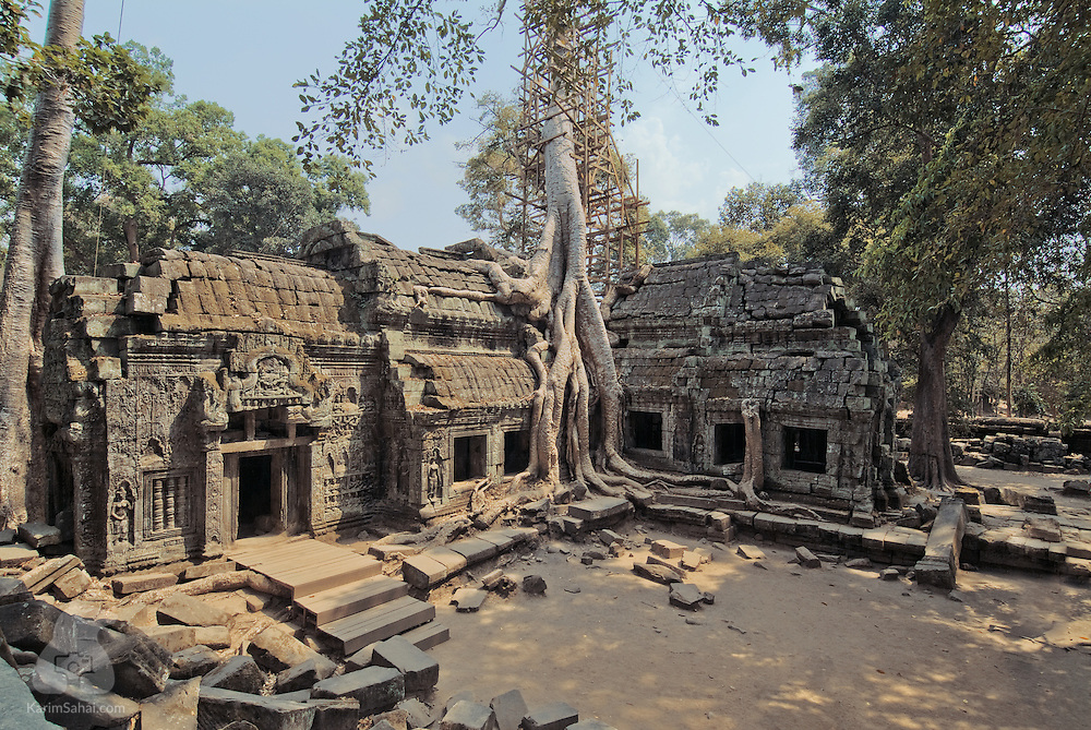 With its distinctive overgrown silk cotton tree, Ta Phrom is one of the most visited sites in Cambodia. The 12th century structure commissioned by Jayavarman VII features prominent carvings modelled on the ruler's close family members.
