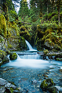 Virgin Creek Falls in Girdwood, Alaska, summer, evening