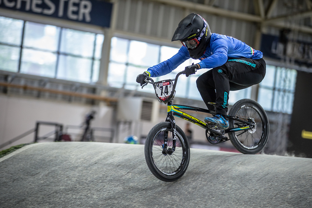 #74 (FURLAN Mattia) ITA at Round 2 of the 2019 UCI BMX Supercross World Cup in Manchester, Great Britain