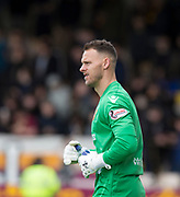 28th April 2018, Fir Park, Motherwell, Scotland; Scottish Premier League football, Motherwell versus Dundee; Motherwell goalkeeper Trevor Carson