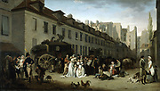 Arrival of the Stagecoach in the Cour des Messageries', 1803, oil on canvas. Louis Leopold Boilly (1761-1845) French painter.