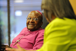 Image ©Licensed to i-Images Picture Agency. 11/08/2014. Cape Town, South Africa. Archbishop Emeritus Desmond Tutu during a press conference announcing the proposed lease of the Granary, a 203 year old building in the centre of Cape Town as the new home of the Desmond and Leah Tutu Legacy Foundation Centre. Picture by Roger Sedres / i-Images