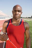 Athlete holding javelin