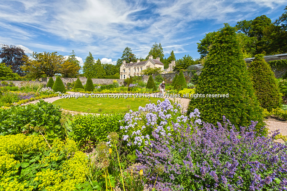 Garden and main house<br /> Aberglasney<br /> One Historic Garden<br /> Near Llandeilo<br /> Carmarthenshire<br /> South<br /> Tourist Attractions