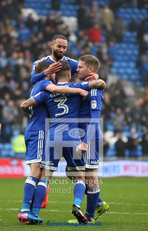 Joe Bennett (C) celebrates the third goal for Cardiff City against Ipswich Town during the Sky Bet Championship match at the Cardiff City Stadium, Cardiff<br /> Picture by Mike Griffiths/Focus Images Ltd +44 7766 223933<br /> 18/03/2017