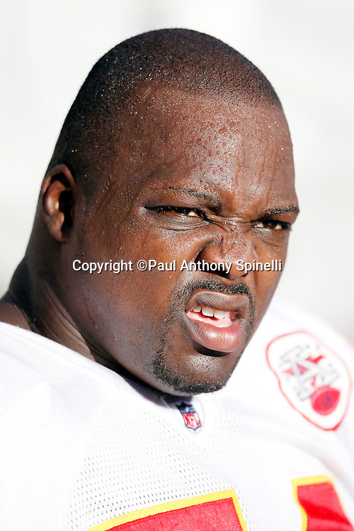 Kansas City Chiefs offensive tackle Branden Albert (76) looks on while covered in sweat on a hot day during the NFL week 14 football game against the San Diego Chargers on Sunday, December 12, 2010 in San Diego, California. The Chargers won the game 31-0. (©Paul Anthony Spinelli)