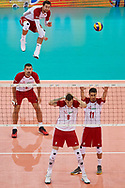 Poland, Warsaw - 2017 August 24: Michal Kubiak from Poland serves the ball during LOTTO EUROVOLLEY POLAND 2017 - European Championships in volleyball at Stadion PGE Narodowy on August 24, 2017 in Warsaw, Poland.<br /> <br /> Mandatory credit:<br /> Photo by © Adam Nurkiewicz<br /> <br /> Adam Nurkiewicz declares that he has no rights to the image of people at the photographs of his authorship.<br /> <br /> Picture also available in RAW (NEF) or TIFF format on special request.<br /> <br /> Any editorial, commercial or promotional use requires written permission from the author of image.