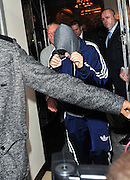 17.MARCH.2011. LONDON<br /> <br /> JUSTIN BIEBER HIDING FROM FANS AND PHOTOGRAPHERS AS HE LEAVES CLARIDGES IN LONDON<br /> <br /> BYLINE: EDBIMAGEARCHIVE.COM<br /> <br /> *THIS IMAGE IS STRICTLY FOR UK NEWSPAPERS AND MAGAZINES ONLY*<br /> *FOR WORLD WIDE SALES AND WEB USE PLEASE CONTACT EDBIMAGEARCHIVE - 0208 954 5968*